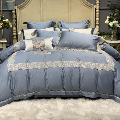 2020新款-高端居家轻奢系列100支艾莎四件套 床单款四件套1.5m(5英尺)床 艾莎 蓝灰