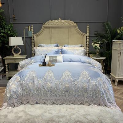 2020新款-高端居家轻奢系列60支花开半夏四件套 床单款四件套1.5m(5英尺)床 半夏花开 蓝