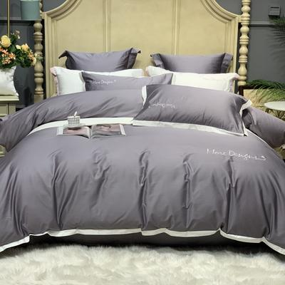 2020新款-高端居家轻奢系列100支年华四件套 床单款四件套1.5m(5英尺)床 都市灰