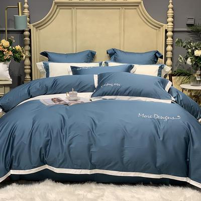2020新款-高端居家轻奢系列100支年华四件套 床单款四件套1.5m(5英尺)床 海军蓝