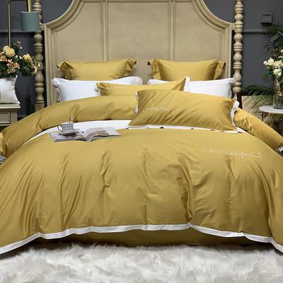 2020新款-高端居家轻奢系列100支年华四件套 床单款四件套1.5m(5英尺)床 姜黄