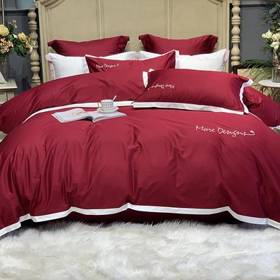 2020新款-高端居家轻奢系列100支年华四件套 床单款四件套1.5m(5英尺)床 酒红