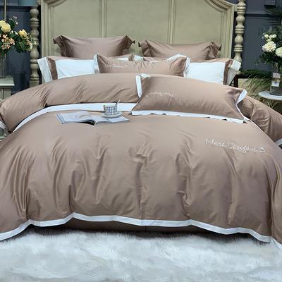 2020新款-高端居家轻奢系列100支年华四件套 床单款四件套1.5m(5英尺)床 卡其