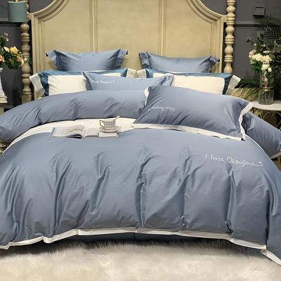 2020新款-高端居家轻奢系列100支年华四件套 床单款四件套1.5m(5英尺)床 蓝灰
