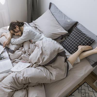 2019新款全棉水洗棉四件套 1.2m床单款 暮光-米驼