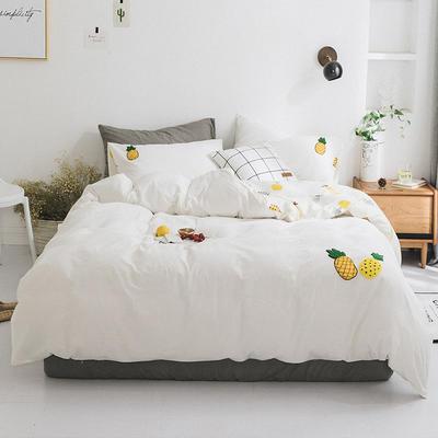 2019新款水洗棉刺绣四件套 1.2m(4英尺)床 菠萝蜜