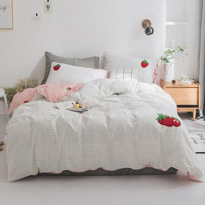 2019新款水洗棉刺绣四件套 1.2m(4英尺)床 草莓派