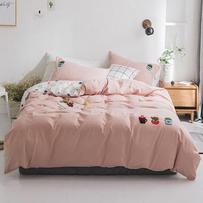 2019新款水洗棉刺绣四件套 1.2m(4英尺)床 仙人掌