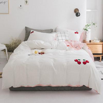 2019新款水洗棉刺绣四件套 1.2m(4英尺)床 小樱桃