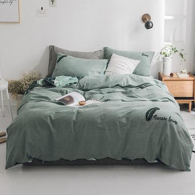2019新款水洗棉刺绣四件套 1.2m(4英尺)床 雨林-绿