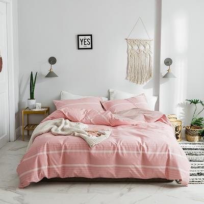 2019新品全棉加厚水洗棉双拼款四件套 小号1.2m床(三件套) 贝拉豆沙