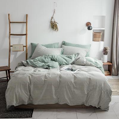 2019新品全棉加厚水洗棉双拼款四件套 小号1.2m床(三件套) 绿白小格