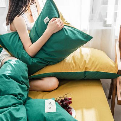 2019新品全棉加厚水洗棉双拼款四件套 小号1.2m床(三件套) 墨绿杏黄