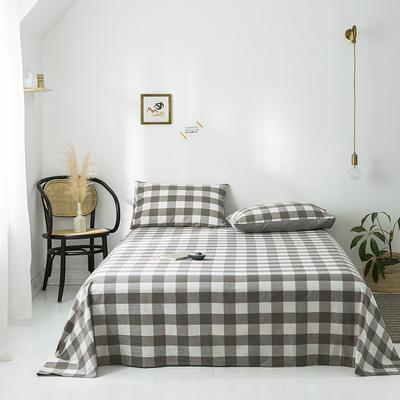 2019新款-全棉水洗棉单品床单 120*230 灰中格