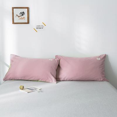 2019新款-全棉水洗棉单品枕套 48cmX74cm/一对 豆沙抹茶