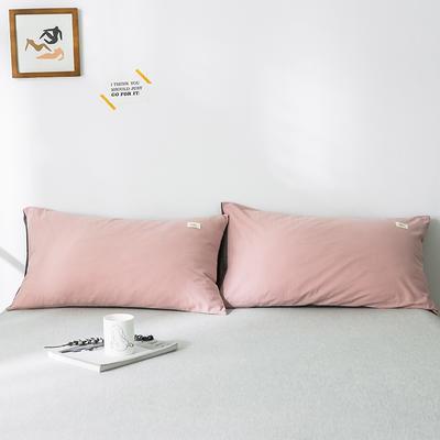 2019新款-全棉水洗棉单品枕套 48cmX74cm/一对 豆沙深灰