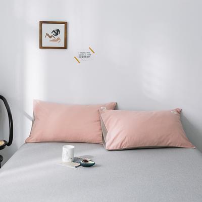 2019新款-全棉水洗棉单品枕套 48cmX74cm/一对 粉卡其