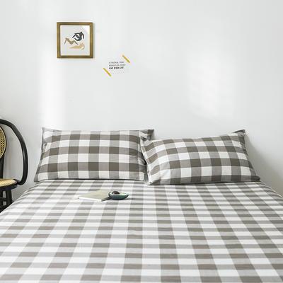 2019新款-全棉水洗棉单品枕套 48cmX74cm/一对 灰中格