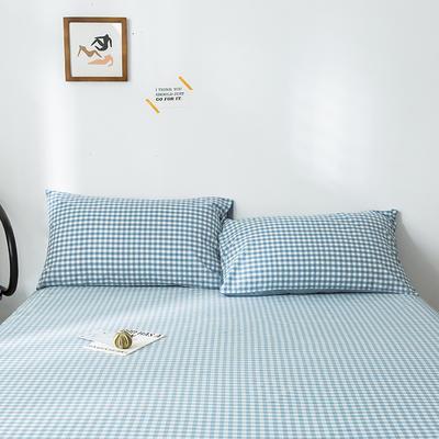 2019新款-全棉水洗棉单品枕套 48cmX74cm/一对 蓝小格