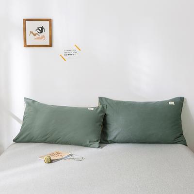 2019新款-全棉水洗棉单品枕套 48cmX74cm/一对 绿卡其
