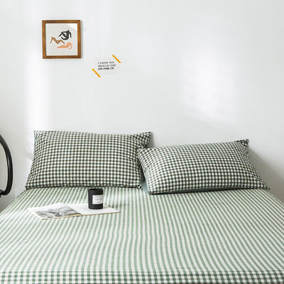 2019新款-全棉水洗棉单品枕套 48cmX74cm/一对 绿小格