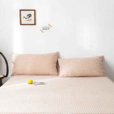 2019新款-全棉水洗棉单品枕套 48cmX74cm/一对 蜜粉格