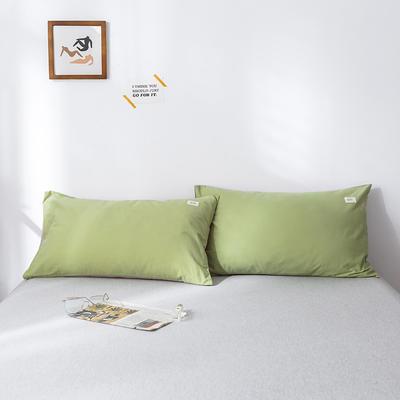 2019新款-全棉水洗棉单品枕套 48cmX74cm/一对 抹绿卡其