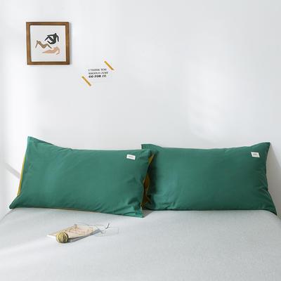 2019新款-全棉水洗棉单品枕套 48cmX74cm/一对 墨绿杏黄
