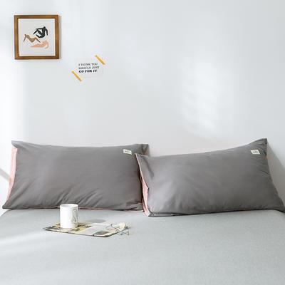 2019新款-全棉水洗棉单品枕套 48cmX74cm/一对 浅灰粉