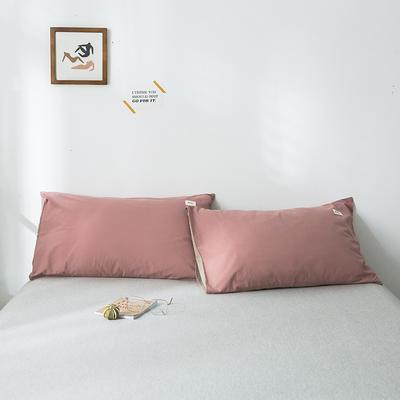 2019新款-全棉水洗棉单品枕套 48cmX74cm/一对 珊瑚红卡其