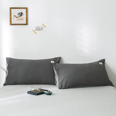 2019新款-全棉水洗棉单品枕套 48cmX74cm/一对 深灰浅灰