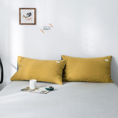 2019新款-全棉水洗棉单品枕套 48cmX74cm/一对 杏黄牛仔蓝