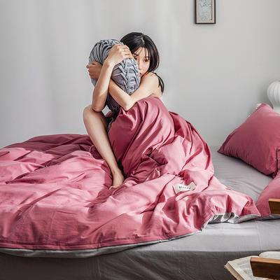 2019新品全棉加厚水洗棉双拼款四件套 小号1.2m床(三件套) 海棠红浅灰