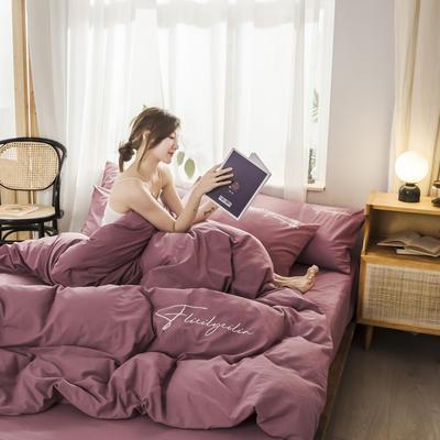 2019新款-全棉水洗棉刺绣四件套 床单款三件套1.2m(4英尺)床 秀-海棠红