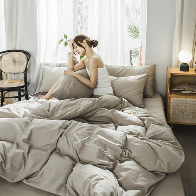 2019新款-全棉水洗棉刺绣四件套 床单款三件套1.2m(4英尺)床 秀-卡其