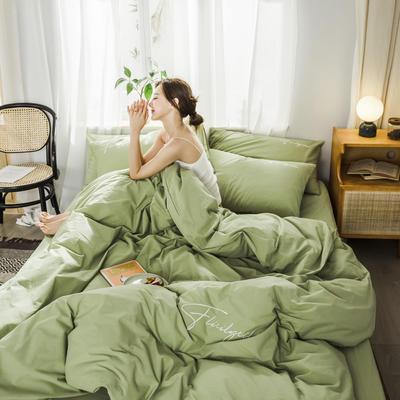 2019新款-全棉水洗棉刺绣四件套 床单款三件套1.2m(4英尺)床 秀-抹茶绿