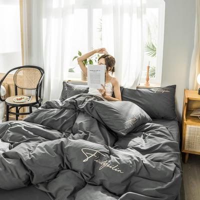 2019新款-全棉水洗棉刺绣四件套 床单款三件套1.2m(4英尺)床 秀-深灰