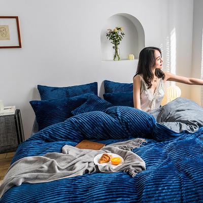2019新款-魔法绒四件套 床单款三件套1.2m(4英尺)床 绒  宝蓝