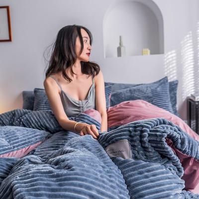 2019新款-魔法绒四件套 床单款三件套1.2m(4英尺)床 绒  宾利蓝