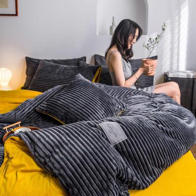 2019新款-魔法绒四件套 床单款三件套1.2m(4英尺)床 绒  高级灰