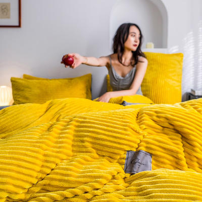 2019新款-魔法绒四件套 床单款三件套1.2m(4英尺)床 绒  姜黄