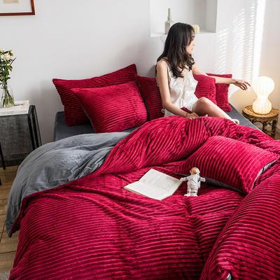 2019新款-魔法绒四件套 床单款三件套1.2m(4英尺)床 绒  酒红