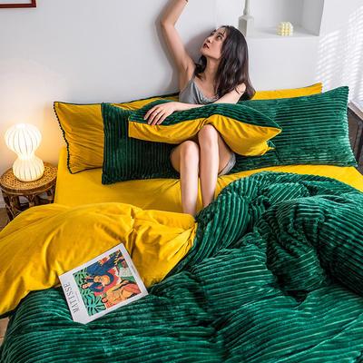 2019新款-魔法绒四件套 床单款三件套1.2m(4英尺)床 绒  墨绿