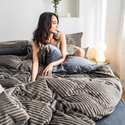 2019新款-魔法绒四件套 床单款三件套1.2m(4英尺)床 绒  浅灰