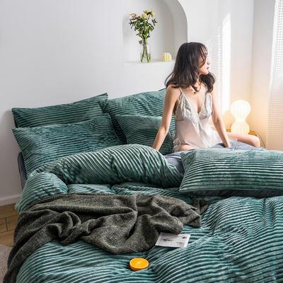 2019新款-魔法绒四件套 床单款三件套1.2m(4英尺)床 绒  浅绿-2