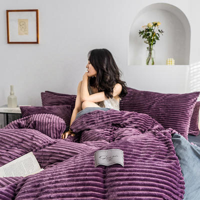 2019新款-魔法绒四件套 床单款三件套1.2m(4英尺)床 绒  香芋紫
