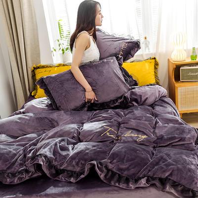 2019新款-水晶绒蕾丝边四件套 床单款三件套1.2m(4英尺)床 蕾丝-豆沙