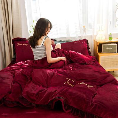 2019新款-水晶绒蕾丝边四件套 床单款四件套1.5m(5英尺)床 蕾丝-酒红