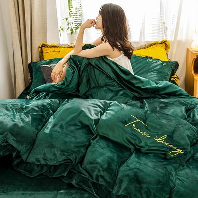 2019新款-水晶绒蕾丝边四件套 床单款四件套1.5m(5英尺)床 蕾丝-墨绿-1