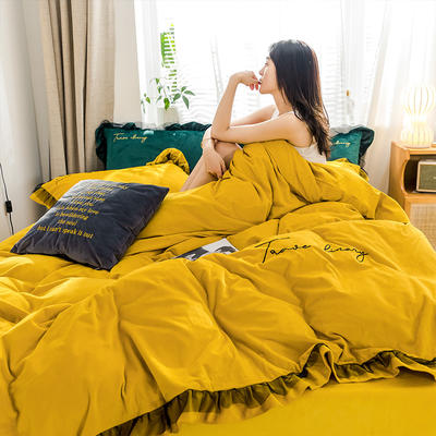 2019新款-水晶绒蕾丝边四件套 床单款四件套1.5m(5英尺)床 蕾丝-暖黄-2
